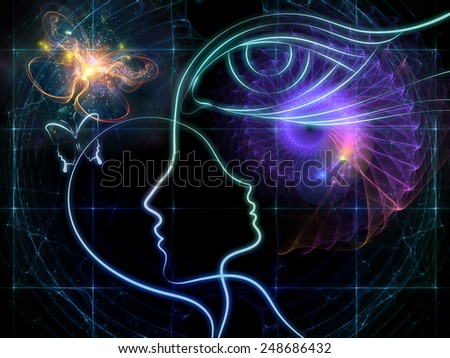 Design on the subject of intuition between parent and child made of profiles of woman and child, human eye and abstract elements - stock photo