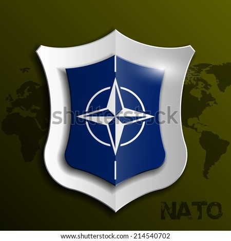 Design shield with the NATO flag. illustration