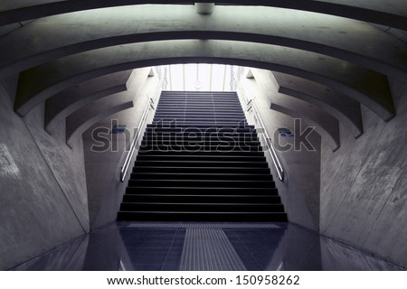Design stairs to the arrival and departure platform of the station Guillemins liege Belgium trainstation This  station is designed by the Spanish architect Santiago Calatrava. - stock photo