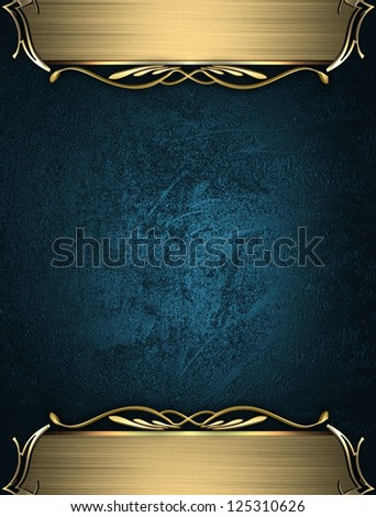 Design template - Blue rich texture with golden edges and gold trim