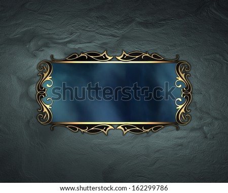Design template - Blue shabby background, with a blue sign with gold trim