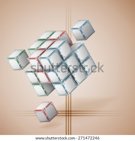 Design template for abstract background; Three dimensions cubes artistic designed with ornamental faces .Abstract linear shapes and squares in backdrop. - stock photo