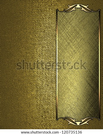 Design template - Gold Background with gold plate and a beautiful gold trim - stock photo