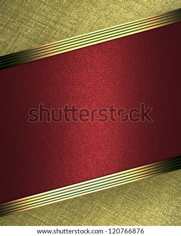 Design template - Gold background with red plate for writing - stock photo