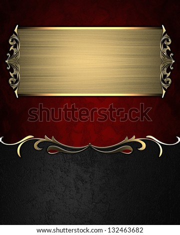Design template - Red and black texture texture with gold pattern and gold plate - stock photo
