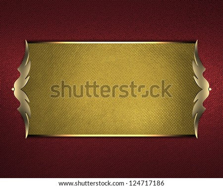 Design template - Red Background with gold plate and a beautiful gold trim. - stock photo