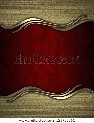 Design template - Red rich texture with golden edges. - stock photo