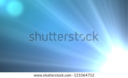 Design template - Star, sun with lens flare. Rays blue of light on a  blue background - stock photo