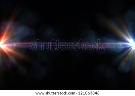 Design template - Star, sun with lens flare. Rays red of light on a  black background - stock photo