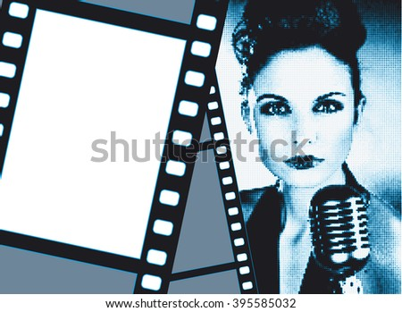 Design template with girl like retro movie star-singer and copyspace