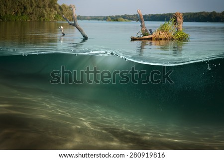 Design template with underwater part  - stock photo