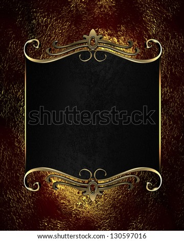 Design templates - Red-golden background with black nameplate with gold ornament
