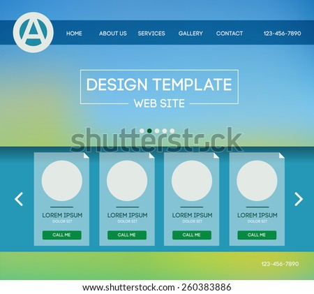 design website theme template. Landing web page layout with blurred background. - stock photo