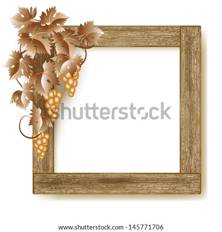Design wooden photo frame with grapes. Raster version of vector. - stock photo