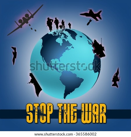 design world with elements of war and stop the war written on a dark blue background