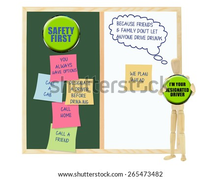 Designated Driver: Family and Friends don't let anyone drive drunk: chalkboard with Safety first post its (you always have options, call home, call friend, call a cab - stock photo