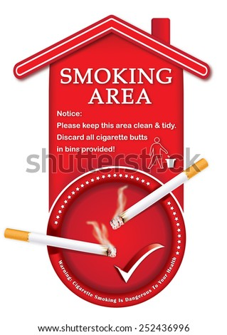 Designated smoking area - printable sticker, containing a realistic lighting cigarettes on a red ashtray. Print colors used;  - stock photo