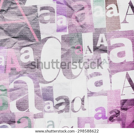 Designed background. Creased collage made of newspaper and magazine clippings - stock photo