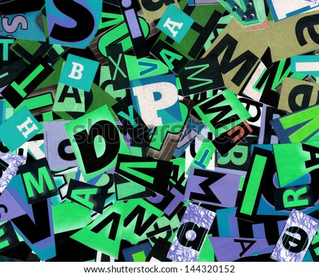 Designed background. Digital collage made of newspaper clippings..   - stock photo