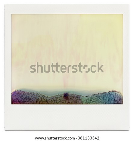 Designed blank instant film frame with abstract filling isolated on white, kind of background, or overlay layer for vintage effect, design element - stock photo