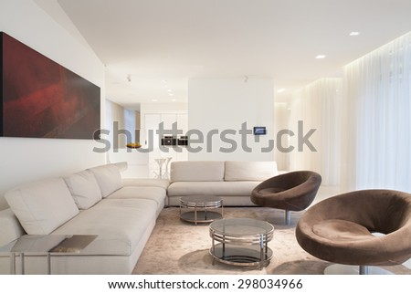 Designed furniture in beige luxury living room - stock photo