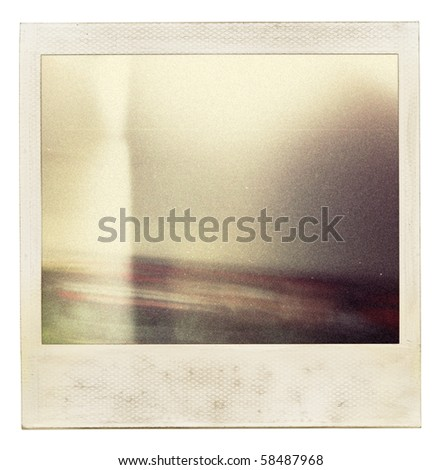 Designed grungy instant film frame with abstract filling. Grain added as vintage effect. - stock photo