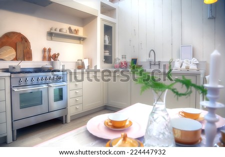 designed in country style kitchen - stock photo