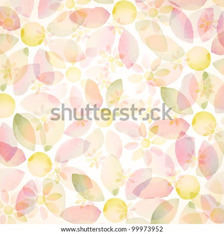 Designed watercolor flower background, texture - stock photo