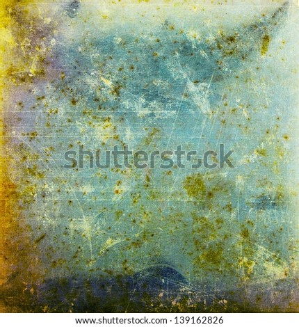 Designed yellow and green grunge paper texture, background - stock photo