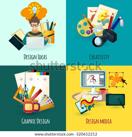 Designer concept set with design ideas creativity and media icons isolated  illustration - stock photo