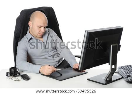 designer does the work. Isolated on white background - stock photo