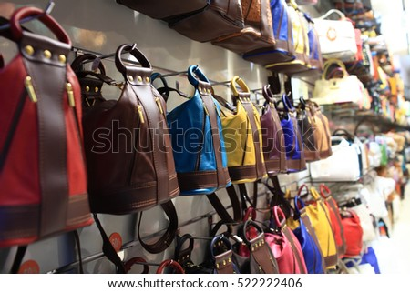 Designer handbags in the shop on a street of Prague