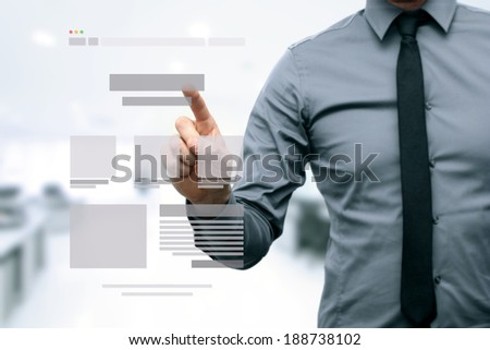 designer presenting website development wireframe - stock photo