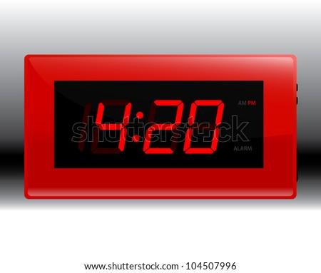 Designer Red Digital Clock Illustration raster - stock photo