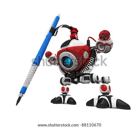 Designer robot with mechanical pencil drawing on empty design area, extreme perspective.