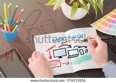 Designer's desk with responsive web design concept. - stock photo