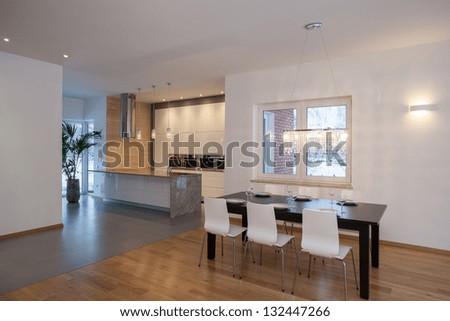 Designers interior - Kitchen in a minimalist house - stock photo