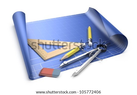 Designing concept. Blueprint and drawing tools isolated on white - stock photo
