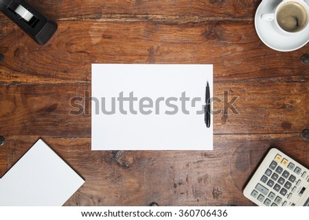 desk and a sheet of paper, copy space