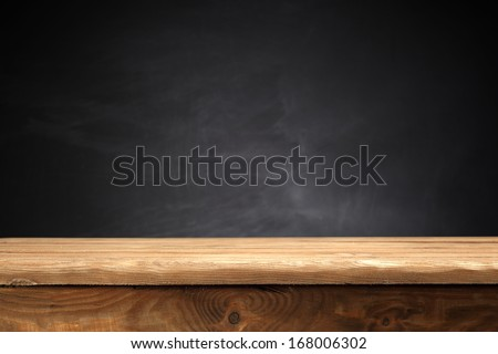 desk and blank black space  - stock photo