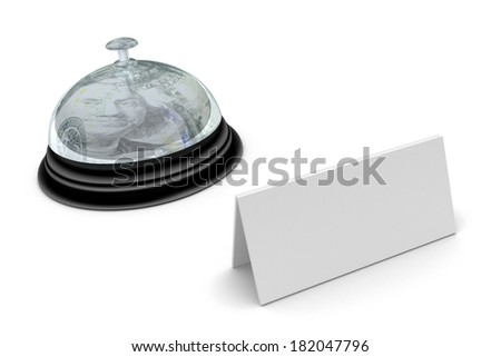 Desk bell with sign isolated on white background - stock photo