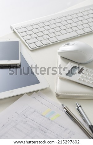 Desk businessman, business items, - stock photo