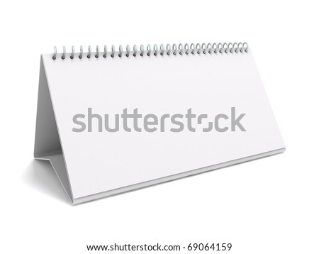 Desk calendar. 3D rendering of a blank desk calendar