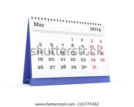 Desk calendar, May month, 2014 year, isolated on white background. Monday start.