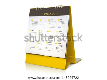 Desk Calendar.with clipping path - stock photo
