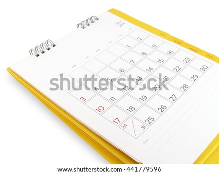 desk calendar with days and dates in July 2016 and blank lines for notes, isolated on white background - stock photo
