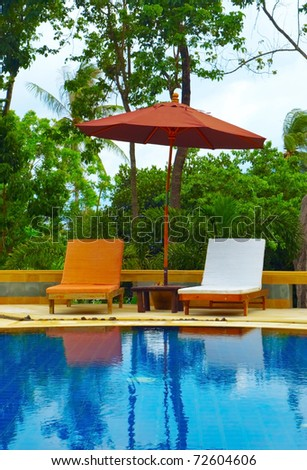 Desk chair in tropical spa resort. - stock photo