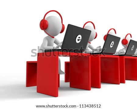 Desk/computer / four businessmen working, each sitting at a desk - stock photo