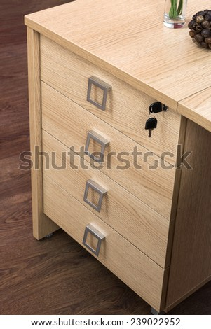 desk cupboard with drawers in a modern office - stock photo