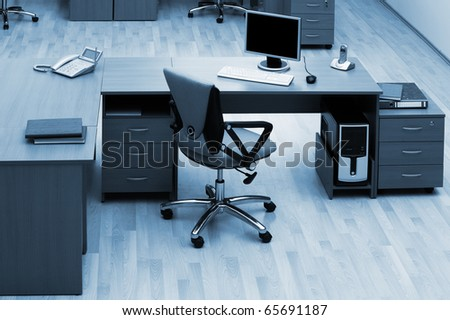 desk for work at modern and beautiful office - stock photo